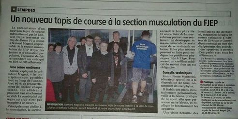 Section Musculation (Article La Montagne mars 2016)
