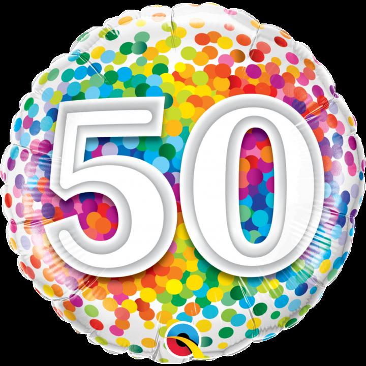 Ballon anniversaire 50 ans rainbow confetti 45 cm 82589 1